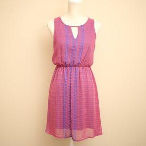 NEW Everly Geometric Keyhole Chiffon Mini Dress